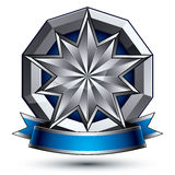 3d vector classic royal symbol, sophisticated silver emblem Royalty Free Stock Photography