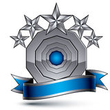 3d vector classic royal symbol, sophisticated silver round emble Stock Photo