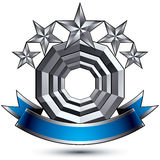 3d vector classic royal symbol, sophisticated silver round emblem Royalty Free Stock Images