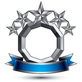 3d vector classic royal symbol, sophisticated silver round. Emblem with five pentagonal stars isolated on white background, glossy argent element with blue Stock Photos