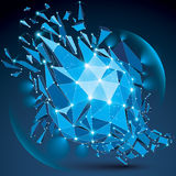 3d vector clear blue digital wireframe object broken into differ. Ent particles, geometric polygonal structure with lines mesh and light effect. Low poly Stock Photo
