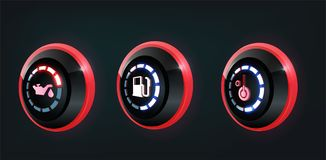 3D vector collection of car dashboard panel indicators, red , blue indicators royalty free illustration