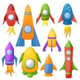 3D vector de illustratiereeks van de beeldverhaalraket Stock Foto's