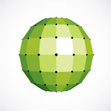 3d vector digital spherical object made using square facets. Low. Poly shape, green polygonal globe, abstract form for use in web design Royalty Free Stock Photography