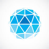 3d vector digital spherical object made using triangular facets. Low poly shape, blue polygonal globe, abstract form for use in web design Royalty Free Stock Images