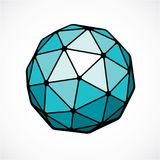 3d vector digital spherical object made using triangular facets. Low poly shape, green polygonal globe, abstract form for use in web design Stock Photos