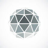 3d vector digital spherical object made using triangular facets. Low poly shape, monochrome polygonal globe, abstract form for use in web design Royalty Free Stock Images