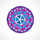 3d vector digital spherical object made using triangular facets. Low poly shape, purple polygonal globe, abstract form for use in web design Stock Image