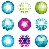 3d vector digital spherical objects made using different geometr. Ic facets. Polygonal orbs, low poly shapes collection for use in web design Royalty Free Stock Photography