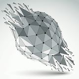 3d vector digital wireframe object broken into different particl. Es and refractions, geometric polygonal structure with lines mesh. Low poly shattered shape Vector Illustration