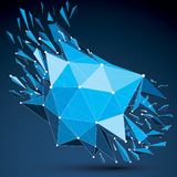 3d vector digital wireframe object broken into different particl. Es and fragments, geometric polygonal structure with white lines mesh. Low poly clear blue vector illustration