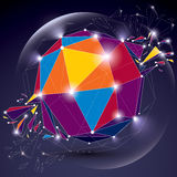 3d vector digital wireframe object broken into different particl. Es, geometric polygonal structure with lines mesh and light effect. Low poly shattered glow Royalty Free Stock Photos