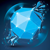 3d vector digital wireframe object broken into different particl. Es, geometric polygonal structure with lines mesh and light effect. Low poly shattered glow Royalty Free Stock Photo
