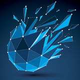 3d vector digital wireframe object broken into different particl. Es and refractions, geometric polygonal structure with blue lines mesh. Low poly shattered Stock Images