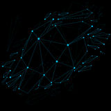 3d vector digital wireframe object broken into different particl. Es and refractions, geometric polygonal structure with blue lines mesh. Low poly shattered stock illustration