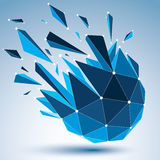 3d vector digital wireframe object broken into different particl. Es and refractions, geometric polygonal structure with blue lines mesh. Low poly shattered royalty free illustration