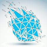 3d vector digital wireframe object broken into different particl. Es and refractions, geometric polygonal structure with lines mesh. Low poly blue shattered Royalty Free Stock Image