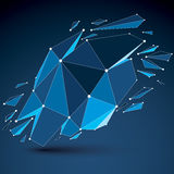 3d vector digital wireframe object broken into different. Particles and refractions, geometric polygonal structure with blue lines mesh. Low poly shattered vector illustration