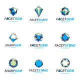 3d vector digital wireframe objects created with lines mesh. Low. Poly shapes collection, lattice forms. Set of gemstone icons. Graphic design Stock Illustration