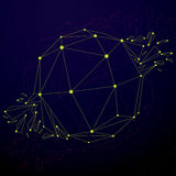 3d vector digital wireframe spherical object broken into differe. Nt particles and refractions, geometric polygonal structure with lines mesh. Low poly shattered Royalty Free Stock Image