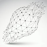3d vector digital wireframe spherical object broken into differe. Nt particles and refractions, geometric polygonal structure with lines mesh. Low poly shattered Royalty Free Stock Photo