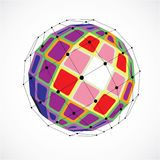 3d vector digital wireframe spherical object made using facets. Geometric polygonal colorful structure created with lines mesh and squares. Low poly shape Stock Photography