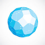 3d vector digital wireframe spherical object made using facets. Geometric polygonal blue ball created with lines mesh and pentagons. Low poly shape, lattice Royalty Free Stock Photography
