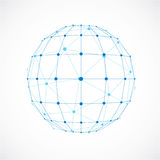 3d vector digital wireframe spherical object made using facets. Geometric polygonal blue ball created with lines mesh and triangles. Low poly shape, lattice Stock Photo