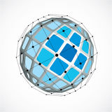 3d vector digital wireframe spherical object made using facets. Geometric polygonal blue structure created with lines mesh and squares. Low poly shape, lattice Royalty Free Stock Image