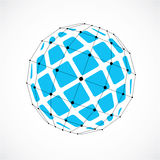 3d vector digital wireframe spherical object made using facets. Geometric polygonal blue structure created with lines mesh and squares. Low poly shape, lattice Stock Image