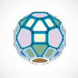 3d vector digital wireframe spherical object made using facets. Geometric polygonal colorful ball created with lines mesh and pentagons. Low poly shape Stock Photo
