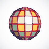 3d vector digital wireframe spherical object made using facets. Geometric polygonal colorful structure created with lines mesh and squares. Low poly shape Stock Images