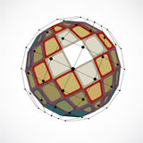 3d vector digital wireframe spherical object made using facets. Geometric polygonal colorful structure created with lines mesh and squares. Low poly shape Stock Image