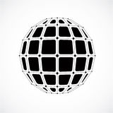 3d vector digital wireframe spherical object made using facets. Royalty Free Stock Images