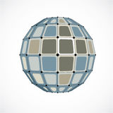 3d vector digital wireframe spherical object made using facets. Geometric polygonal gray structure created with lines mesh and squares. Low poly shape, lattice Royalty Free Stock Photography