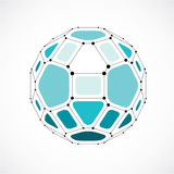 3d vector digital wireframe spherical object made using facets. Geometric polygonal green ball created with lines mesh and pentagons. Low poly shape, lattice Stock Image