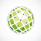 3d vector digital wireframe spherical object made using facets. Geometric polygonal green structure created with lines mesh and squares. Low poly shape Stock Image
