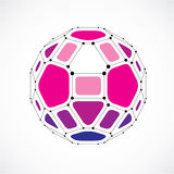 3d vector digital wireframe spherical object made using facets. Geometric polygonal purple ball created with lines mesh and pentagons. Low poly shape, lattice Royalty Free Stock Images