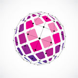 3d vector digital wireframe spherical object made using facets. Geometric polygonal purple structure created with lines mesh and squares. Low poly shape Stock Photo