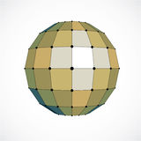 3d vector digital wireframe spherical object made using facets. Geometric polygonal yellow structure created with lines mesh and squares. Low poly shape Stock Photography