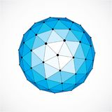 3d vector digital wireframe spherical object made using triangul. Ar facets. Geometric polygonal structure created with lines mesh. Low poly shape, blue lattice Royalty Free Stock Photography