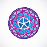3d vector digital wireframe spherical object made using triangul. Ar facets. Geometric polygonal structure created with lines mesh. Low poly shape, purple Royalty Free Stock Photo