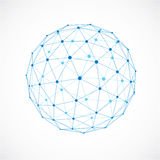 3d vector digital wireframe spherical object made using triangul. Ar facets. Geometric polygonal structure created with transparent lines mesh. Low poly shape Royalty Free Stock Photography