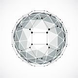 3d vector digital wireframe spherical object made using triangul. Ar facets. Geometric polygonal structure created with lines mesh. Low poly shape, gray lattice Stock Illustration