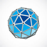 3d vector digital wireframe spherical object made using triangul. Ar facets. Geometric polygonal structure created with lines mesh. Low poly shape, blue lattice Stock Photography