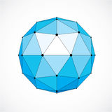 3d vector digital wireframe spherical object made using triangul. Ar facets. Geometric polygonal structure created with lines mesh. Low poly shape, blue lattice Stock Image