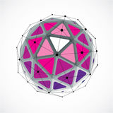 3d vector digital wireframe spherical object made using triangul. Ar facets. Geometric polygonal structure created with lines mesh. Low poly shape, purple Stock Images