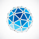 3d vector digital wireframe spherical object made using triangul. Ar facets. Geometric polygonal structure created with lines mesh. Low poly shape, blue lattice Stock Photo