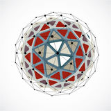 3d vector digital wireframe spherical object made using triangul. Ar facets. Geometric polygonal structure created with lines mesh. Low poly shape, colorful Royalty Free Stock Images