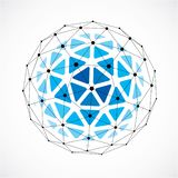 3d vector digital wireframe spherical object made using triangular facets. Geometric polygonal structure created with lines mesh. Low poly shape, blue lattice stock illustration